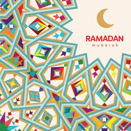 Ramadan Mubarak beautiful greeting card. Background with crescent moon and  morocco pattern