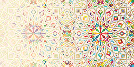 モロッコ崩壊テンプレート。イスラムのモザイク デザイン。抽象的な背景