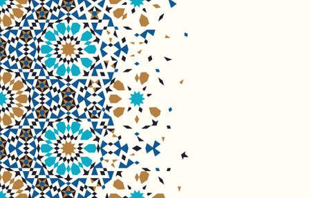 Marokko Disintegration Template. Islamitisch Mozaïekontwerp. Abstracte Achtergrond. Vector Illustratie