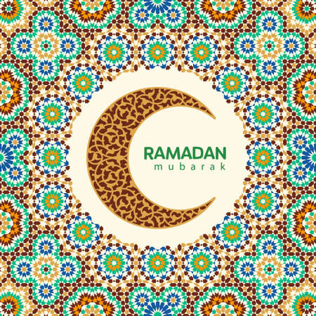 Ramadan Mubarak beautiful greeting card. Background with crescent moon and traditional morocco pattern Illustration