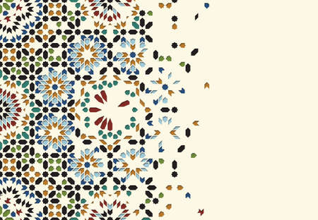 disintegration: Morocco Disintegration Template. Islamic Mosaic Abstract Background.