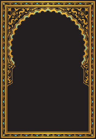 alhambra: Arabic Geometric Frame. Traditional Islamic Design. Mosque decoration element.