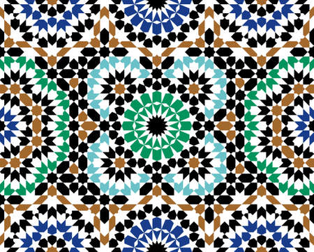 Morocco Seamless Pattern. Traditional Arabic Islamic Background. Mosque decoration element. Vettoriali