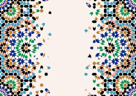 Marokko desintegratie sjabloon. Islamitisch mozaïekontwerp. Abstracte achtergrond. Vector Illustratie