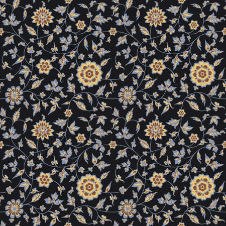 Amazing seamless floral pattern elegance colorful flowers and leaves on a black background. Use for fashion prints. Illustration