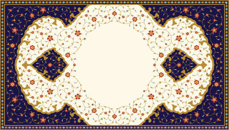 Arabic Floral Frame. Traditional Islamic Design. Mosque decoration element. Elegance Background with Text input area in a center. 版權商用圖片 - 95901919