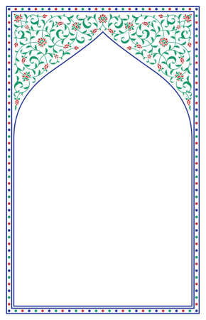 Arabic Floral Arch. Traditional Islamic Background. Mosque decoration element. Elegance Background with Text input area in a center. Illustration