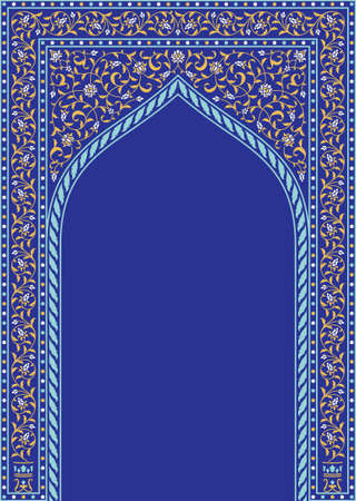 Arabic Floral Arch. Traditional Islamic Background. Mosque decoration element. Elegance Background with Text input area in a center. Ilustracja