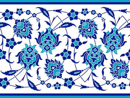 Floral border for your design. Traditional Turkish  Ottoman seamless ornament. Iznik. Vector background Illustration