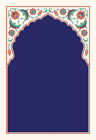 Floral arch for your design. Traditional Turkish Ottoman ornament. Iznik. Vector background.