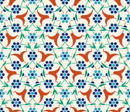 Floral pattern for your design. Traditional Turkish  Ottoman seamless ornament. Iznik. Vector background.