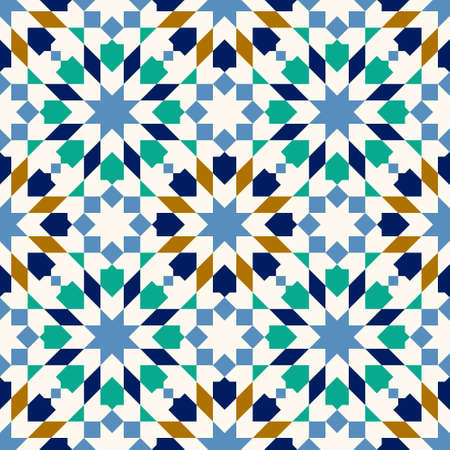 Morocco Seamless Pattern. Traditional Arabic Islamic Background. Mosque decoration element.  イラスト・ベクター素材