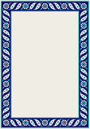 Floral pattern for your design. Traditional Turkish – Ottoman frame. Iznik. Vector background.