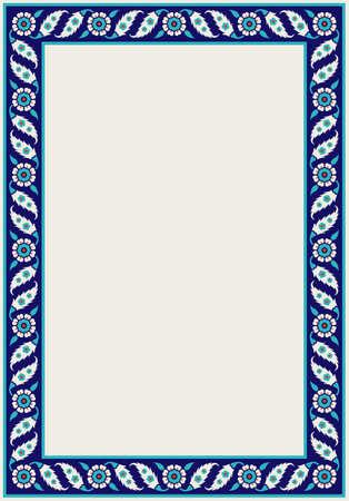 Floral pattern for your design. Traditional Turkish � Ottoman frame. Iznik. Vector background. Illustration