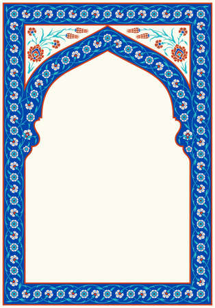 Floral pattern for your design. Traditional Turkish � Ottoman Arch. Iznik. Vector background. 写真素材 - 110731389
