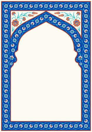 Motivo floreale per il tuo design. Turco tradizionale – Arco ottomano. Iznik. Sfondo vettoriale. Vettoriali