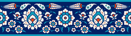 Floral border for your design. Traditional Turkish � Ottoman seamless ornament. Iznik. Vector background.