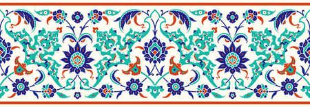 Blumengrenze für Ihr Design. Traditionelles türkisches – osmanisches nahtloses Ornament. Iznik. Vektorhintergrund Vektorgrafik