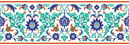 Floral border for your design. Traditional Turkish – Ottoman seamless ornament. Iznik. Vector background