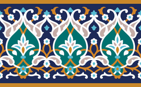 Arabic Floral Seamless Pattern. Traditional Arabic Islamic Background. Mosque decoration element.  イラスト・ベクター素材