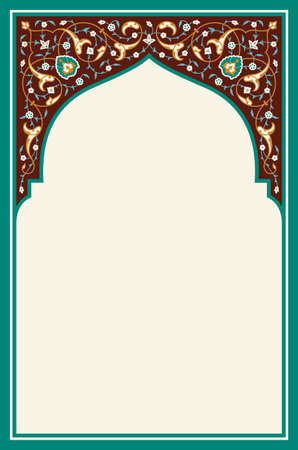 Islamic Floral Arch for your design. Traditional Arabic Background. Elegance Background with Text input area in a center.