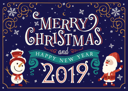 Merry Christmas greeting card. Winter landscape. Santa claus and snowman with xmas tree. Merry Christmas Lettering. Hand-written text