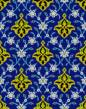 Arabic Floral Seamless Pattern for your design. Traditional Arabic Islamic Background. Mosque decoration element.