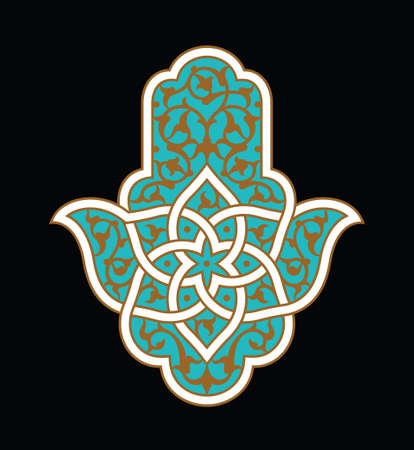 Hamsa or hand of Fatima, good luck charm, vector illustration with floral Islamic pattern.