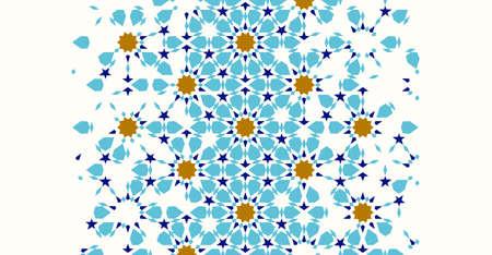 Plantilla de desintegración de Marruecos basada en el diseño de mosaico islámico geométrico. Azulejos de borde de vector de repetición. Fondo abstracto.