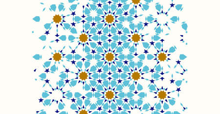 Morocco disintegration template based on geometric islamic mosaic design. Tile repeating vector border. Abstract background. Illustration