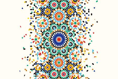 Modello di disintegrazione del Marocco basato sul design geometrico del mosaico islamico. Bordo vettoriale ripetuto delle mattonelle. Sfondo astratto. Vettoriali