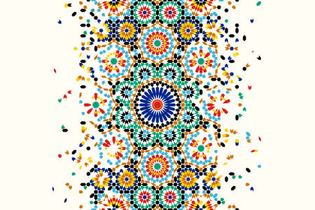 Morocco disintegration template based on geometric islamic mosaic design. Tile repeating vector border. Abstract background. Çizim