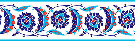 Floral border for your design. Traditional Turkish – Ottoman seamless ornament. Iznik. Vector background.