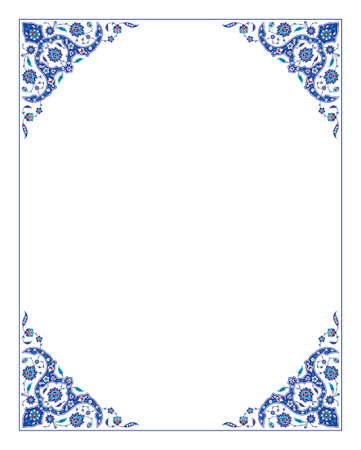 Floral pattern for your design. Traditional Turkish – Ottoman frame. Iznik. Vector background. Vectores
