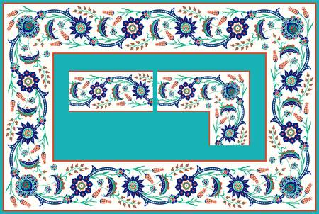 Islamic Floral Frame. Frame constructor, connecting the corner element and the side element, you can get frames with different sizes. Each element perfectly matches with each other to get a seamless frame. Easy to modify