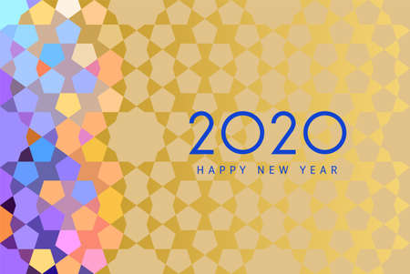 Happy new 2020 year! Ethnic template with Morocco pattern for your seasonal holidays flyers, greetings and invitations, christmas themed congratulations and cards. Vector illustration.