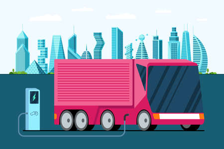 Electric truck at charging station. Hybrid futuristic semi trailer vechicle on future city. Modern e-vehicle technology and environment care concept. Flat cargo vector illustration Illustration