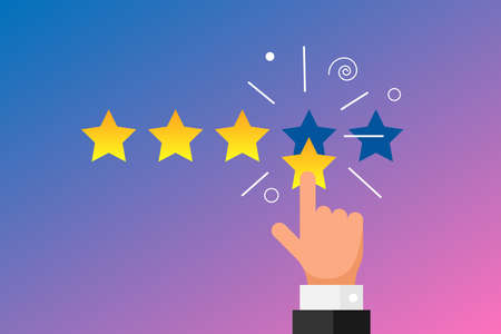 Online feedback reputation best quality customer review concept flat style. Businessman hand finger pointing four gold star rating on gradient background. Vector rank illustration
