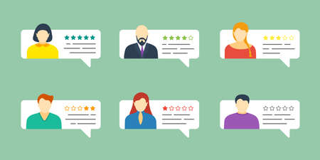 Feedback chat speech bubble set with male and female avatars. Review grading system five stars rating with good and bad testimonial rate collection. Vector quality appraisal eps illustration concept Çizim