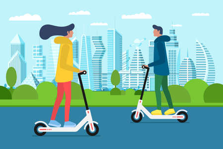 Millennial girl and boy riding scooters in future city park. Transporting around town and having tour. Spending free time on urban street. People on electric scooter. Eco transport vector illustration