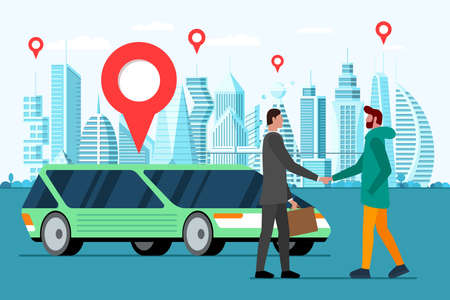 Car sharing service template. Two young men character handshake on future city road with skyscraper. Economy transportation cooperate for journey. Deal for adventure. Vector vehicle rent illustration