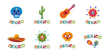 Collection de bannières de typographie du Mexique avec jeu de décoration de texte coloré. Sombrero mexicain festif et illustration latino vectorielle de cactus idéale pour l'événement de célébration de la fête nationale Vecteurs