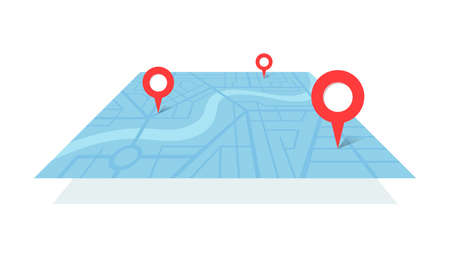 City street map plan with river GPS place pins and navigation route from A to B point markers. Vector blue color perspective view isometric illustration location schema