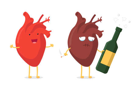 Sad unhealthy sick human heart with alcohol bottle and smoking cigarette and strong healthy happy cartoon character. Vector cartoon mascot comparison illustration