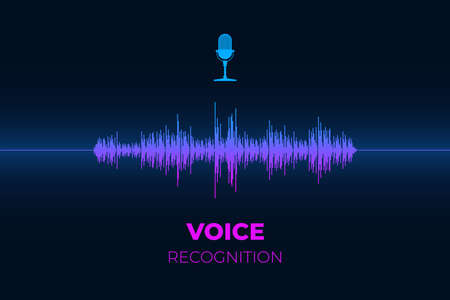 Personal sound assistant and voice recognition system concept. Microphone button with bright gradient equalizer wave. Soundwave intelligent smart ai technologies flat vector illustration
