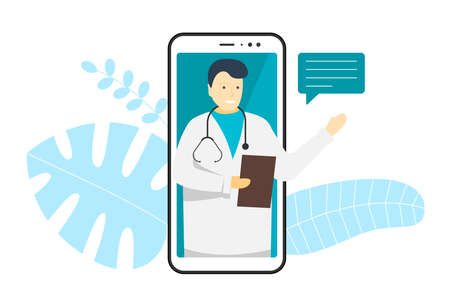 Doctor online mobile chat internet consulting. White man in glasses on smart phone screen with speech bubble and stethoscope. Healthcare consultation web service. Vector medicine modern illustration