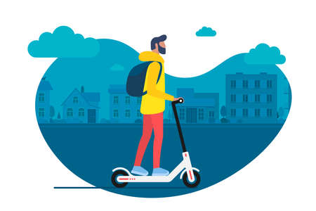 Young male character with backpack ride modern urban transport electric kick scooter. Active hipster adult millennial uses lifestyle ecology technologies. Vector illustration sport youth on cityscape