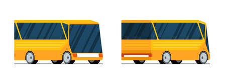 Yellow futuristic modern city transport bus front back and side view. Vector isolated flat illustration for passenger transportation traffic service vehicle set