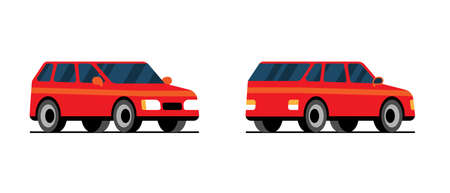 Red flat automobile side back front view. Cool vector transportation design item station wagon family car. Classic looking hatchback vehicle for delivery illustration Иллюстрация