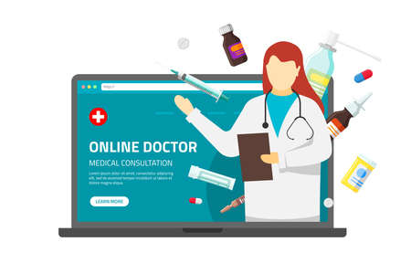 Online medical consultation support. Doctor therapist pharmacist female with stethoscope and medication tablets pills drugs on laptop screen. Vector illustration internet consulting pharmacy service
